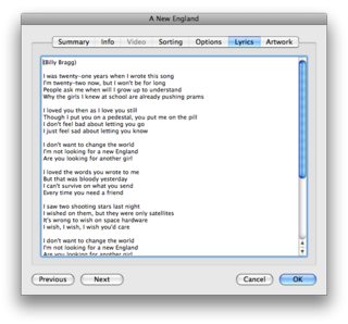 iTunes' lyrics editor